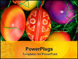 PowerPoint Template - several colored easter eggs laying on the green grass