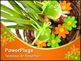PowerPoint Template - easter eggs on green plant and flowers
