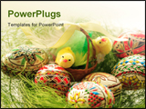 PowerPoint Template - Hand painted Easter eggs in basket closeup