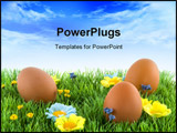 PowerPoint Template - easter eggs in the grass with flowers