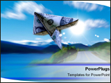 PowerPoint Template - Dollar bill soaring through air.