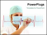 PowerPoint Template - Female doctor in medical mask writing a cardiogram over white background