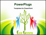 PowerPoint Template - Eco Green icon. Tree and people. Vector design.