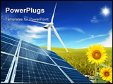 PowerPoint Template - A composition of clean energies solar panel, sunflower and windmill.