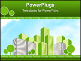 PowerPoint Template - green city with trees. ecology concept design.
