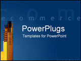 PowerPoint Template - E-commerce across gold CBD skyscrapers in business