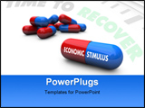 PowerPoint Template - A red and blue pill with the words Economic Stimulus on it