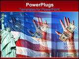 PowerPoint Template - hands holding money and the american flag and statue of liberty. symbol of strong economy.