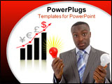 PowerPoint Template - businessman holding two light bulbs (ideas) with a graph in the background