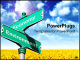PowerPoint Template - a sign with the concept of where economy and environment intersect