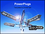 PowerPoint Template - economy words signs post over blue sky