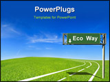 PowerPoint Template - Eco way : a road in green field