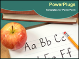 PowerPoint Template - notebooks with apple and pencil