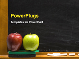 PowerPoint Template - apples and chalk board at school