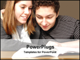 PowerPoint Template - two students enjoy reading