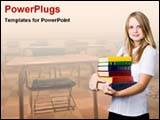 PowerPoint Template - girl carrying books in classroom