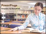 PowerPoint Template - girl studying in library