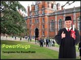 PowerPoint Template - graduate student smiling in front of university