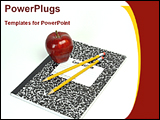 PowerPoint Template - 2 pencils and apple on a exercise book