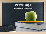 PowerPoint Template - green apple and books in front of blackboard