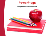 PowerPoint Template - colored pencils and apple on a note book