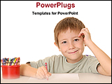 PowerPoint Template - a boy is drawing with colored pencils