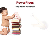 PowerPoint Template - baby boy playing with books