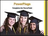 PowerPoint Template - three girls after their gradation