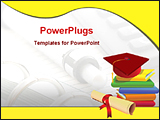 PowerPoint Template - image of books and graduation cap