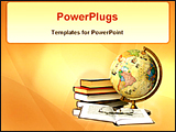 PowerPoint Template - books, globe and glass in abstract background