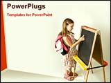 PowerPoint Template - a girl writing in a Black board