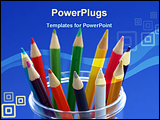 PowerPoint Template - bunch of pencil colors in a pencil holder