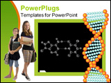 PowerPoint Template - Blackboard with chemical formula. DNA.
