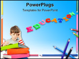 PowerPoint Template - Frame made of colorful pencils shallow depth of field with focus on the Your sample text