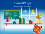 PowerPoint Template - First day in the school - School accessories on the shelf