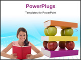 PowerPoint Template - a solid mix of books and apples for good learning foundations