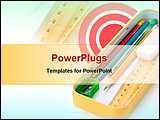 PowerPoint Template - a Metal pencil case with white background