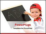 PowerPoint Template - 5-6 years old boy with blackboard isolated on white