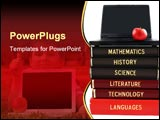 PowerPoint Template - chool subjects textbooks like mathematics history science and technology with laptop and apple on a