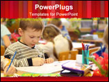 PowerPoint Template - Portrait of Serious Boy draws in kindergarten