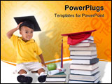 PowerPoint Template - oing to school is your future. Education learning teaching. A young boy has the thinks about his fu