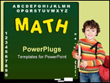 PowerPoint Template - A green chalk board with the word math on a white background education