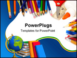 PowerPoint Template - Assorted school supplies including pens pencils scissors glue and a ruler on a white background