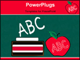 PowerPoint Template - green chalkboard with chalk eraser and apple - education