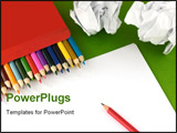 PowerPoint Template - Color pencils in a box and a clean sheet of a paper