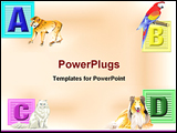 PowerPoint Template - Four colorful childs blocks A thru D with the critter they represent