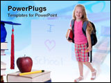 PowerPoint Template - Going to school is your future. Education learning teaching. A young girl thinks about her future.
