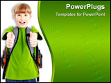 PowerPoint Template - Happy smiling schoolboy. Isolated over white background