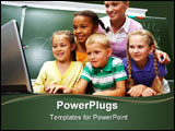 PowerPoint Template - Portrait of pupils looking at the laptop with teacher near by