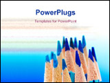 PowerPoint Template - lots of blue color pencils in blue background ** Note: Shallow depth of field